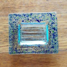Zubehör: Seifenschale Glasfusing blau