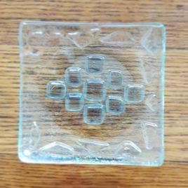 Zubehör: Seifenschale Glasfusing mit Muster