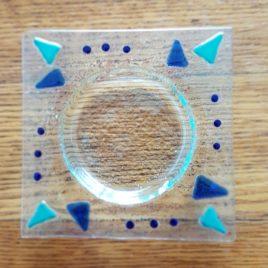 Zubehör: Seifenschale Glasfusing blau/grün