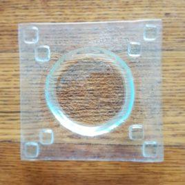 Zubehör: Seifenschale Glasfusing mit Viereck-Muster uni